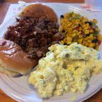 chopped beef with potato salad and corn (veggie of the day)
