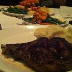Rib steak, seasonal vegetables, and King Crab legs