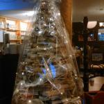 Christmas book tree in Café du Journal