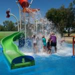 My grandchildren playing in the water park