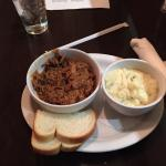 Pulled pork 1/2 with mash potatoes as a side - good, but only one small slice of bread.