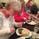 Dottie and newlyweds enjoying our final night out in Freeport with a great meal.