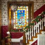 Staircase stained glass window