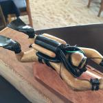 Wooden rebreather diver on a Craic House table : note sandy floor