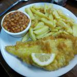 Small fish and chips with beans