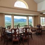 Dining room with a mountain view