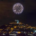View from Rooftop Bar ~ Fireworks over El Panecillo