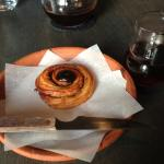 Danish roll accompanying the coffee