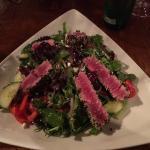 Greek salad and seared Ai mahi