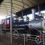 Locomotiva em exposição na plataforma da Estação Ferroviária