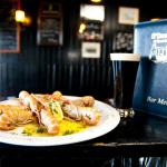 Fresh Local Prawns and a glass of guinness in O'Dowds Bar, Roundstone on the Wild Atlantic Way.