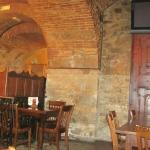 Rustic interior of the basement restaurant, very old-world!