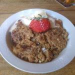 Apple, sultana & cinnamon crumble with icecream 1