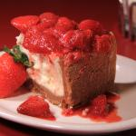 Cheesecake with strawberries.  Made fresh in-house.