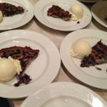 Mouth watering Blueberry Clafoutis and homemade vanilla ice cream (with his own vanilla extract!