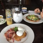 Poached Eggs with Bacon, Huevos Rancheros, Green Tea and Freshly Squeezed Orange Juice.