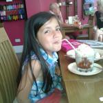 """My grand daughter enjoying the """"small"""" milk shake!"""