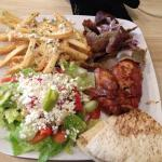 1/4 Chicken and Gyro plate with Greek Salad and seasoned fries. Very Good!!