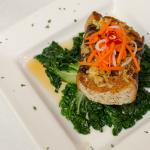 Chilean Sea Bass with Ginger Vinaigrette and steamed Bok Choy