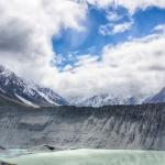 View of Mt Cook from Kea Point partially covered by clouds