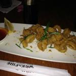Frided Calamari with sauce.  You can request their spicy sauce as well