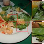 "The so-called ""wild-caught"" shrimp with decaying lettuce"