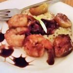 Fig, Bacon & Shrimp over Creamy Goat Cheese Quinoa.