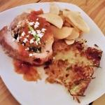 Stuffed Pork Loin w/ spinach, mushrooms, bacon, feta cheese, & roasted tomato demi  glaze.