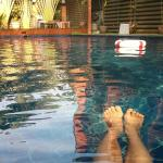 Relaxing pool after a tiresome walking filled day.