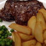 Monday night steak night, 7oz prime Rump steak, and a pint of beer, £10. Delicious with real chi