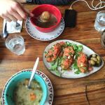 Mushroom Soup, barley vegetable and Bruschetta