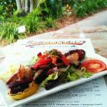 Blackened Shrimp with Grilled Portabella Mushrooms & Mediterranean Vegetable Medley