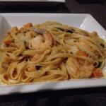 Seasonal special shrimp fettuccine entrée with spinach and butternut squash.