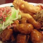 chow mein, ss pork, prawns, and rice.