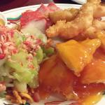 lemon chicken, chow mein, and prawns.