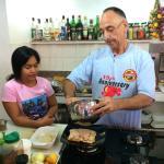 Alfredo preparing the dessert