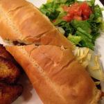 Braised beef sandwich with maduros