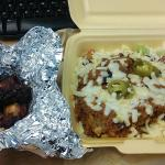 Takeaway Chilli spud with Flame Pit wings