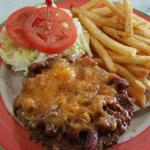 Southwestern chili cheeseburger enjoyed by gregory grookett. Batter dipped fries so we're a big