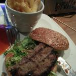 Bland burger with steamed fries