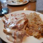 Creamed chipped beef and hash browns