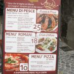 I menù a prezzi fissi esposti esternamente