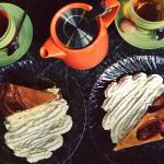 Yummy tea and cakes served in cute crockery