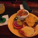 Brass Cactus Burger, Onion Soup, and Margarita