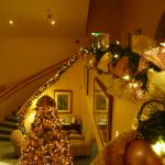 Lobby with Christmas decorations.