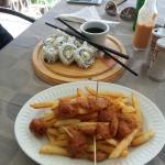 Calamari with Fries and Alaska Sushi Roll (18 + 35 XCD)
