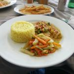 Shrimp Curry with Rice and Sauteed Vegetables (50XCD)
