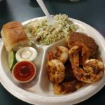 Nathan's Special $11.95 grilled shrimp and flounder and a crab cake. Substituted extra cole slaw