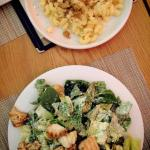 Chicken caesar and delicious mac and cheese