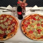 Delicious take-away pizzas in our hotel room